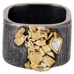 Rose Cut White Pear Diamond, 22 Karat Yellow Gold, Sterling Silver Band Ring