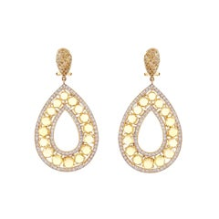 Rose Cut Yellow Sapphire Fancy Diamond Drop Earring