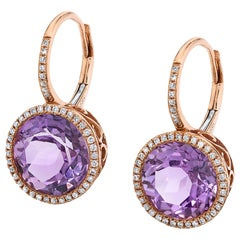 Rose d' France Amethyst and Diamond 14 Karat Rose Gold Leverback Earrings