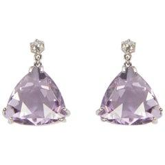 Rose de France Amethyst Diamond Drop Gold Earrings