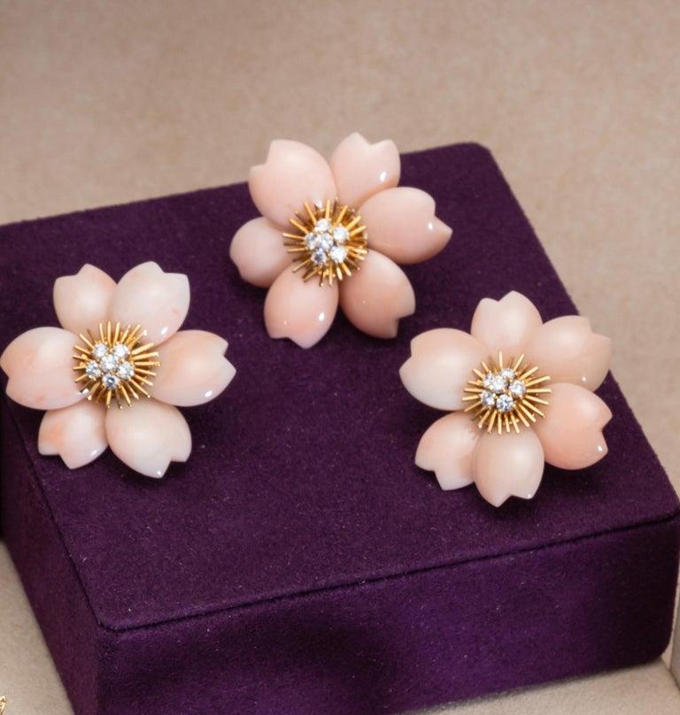 Contemporary Rose De Noel by Van Cleef & Arpels, Pink Coral Brooch and Earrings Set For Sale