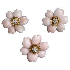 Rose De Noel by Van Cleef & Arpels, Pink Coral Brooch and Earrings Set