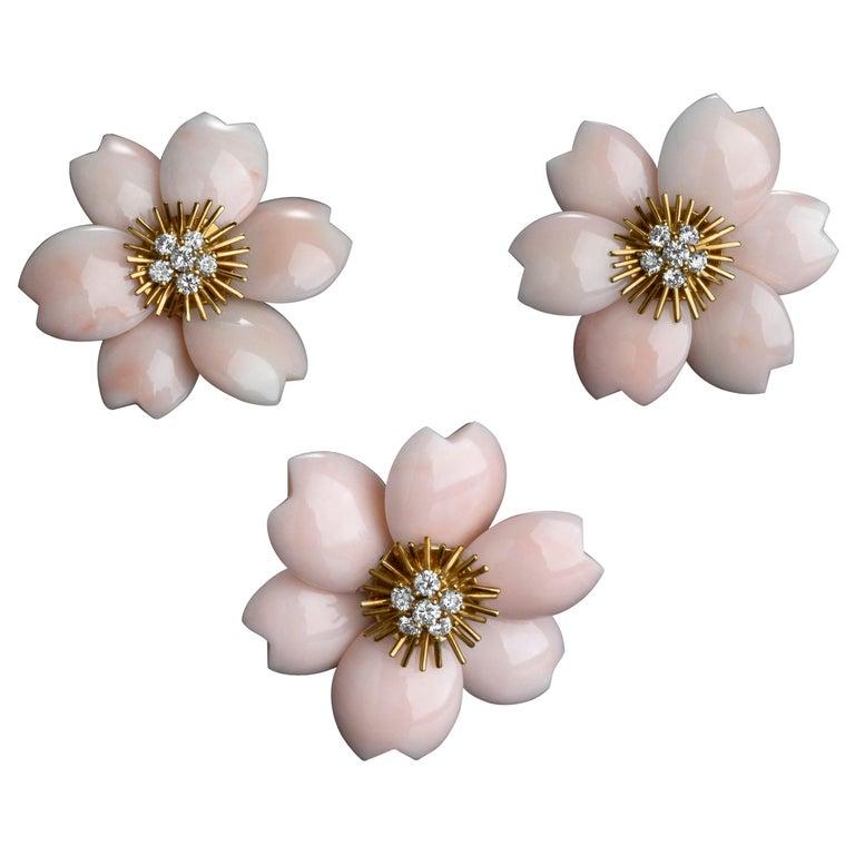 Rose De Noel by Van Cleef & Arpels, Pink Coral Brooch and Earrings Set For Sale