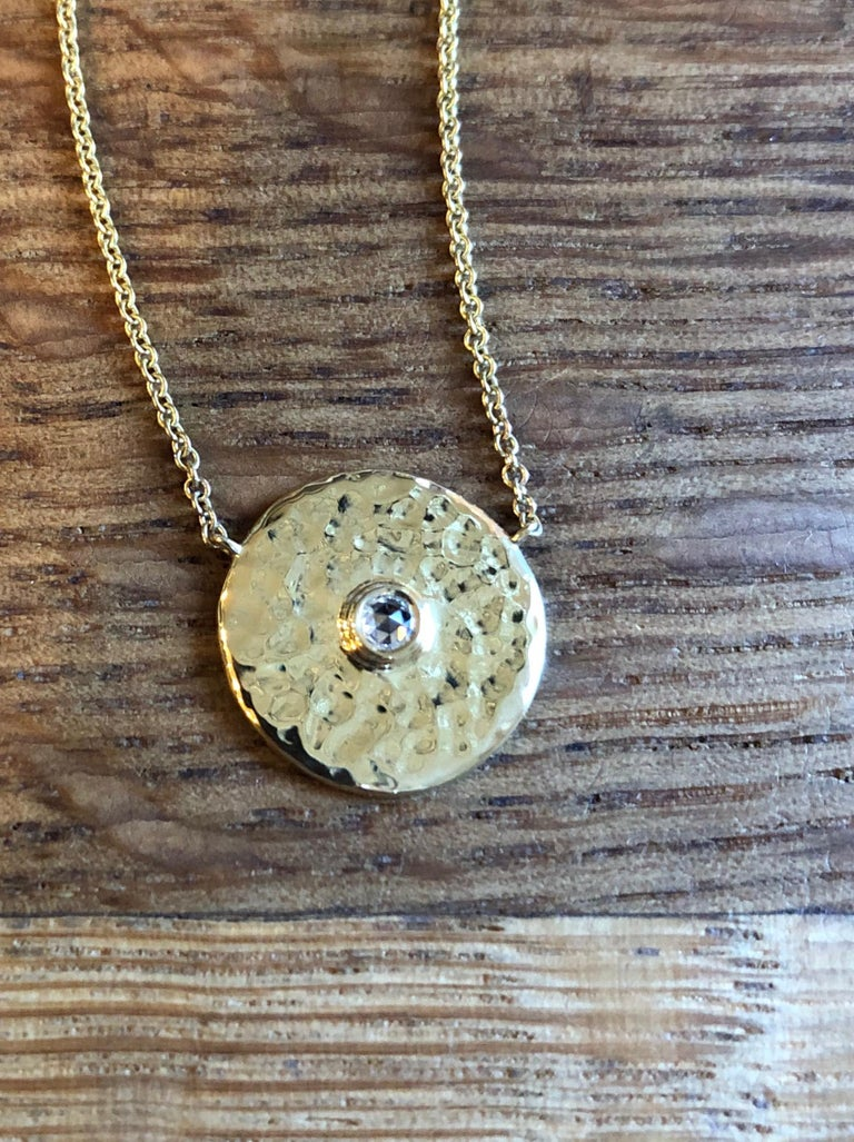 Artisan Rose Diamond and 18 Karat Gold Hammered Pendant Necklace For Sale