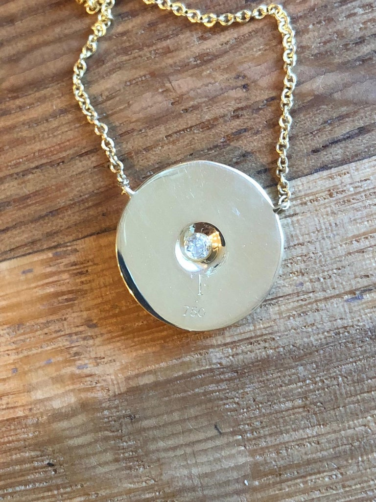 Rose Cut Rose Diamond and 18 Karat Gold Hammered Pendant Necklace For Sale
