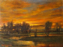 Afterglow - Original Oil Painting with Setting Sun Reflecting Romantic Colors