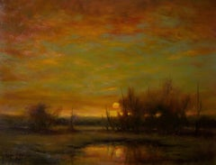 Blood Moon  - Original Oil Painting with Soft Light Reflecting Romantic Colors