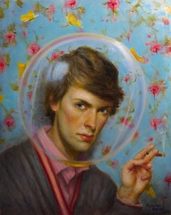 Cocooned - Oil on Panel Painting of a Young Man