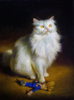 Divine Intervention, White Persian Cat Standing on a Trump Doll, Oil Painting