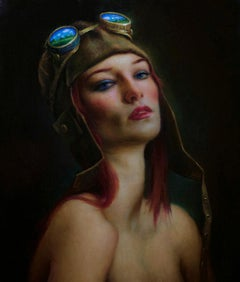 Flying Dreams - Original Oil Painting of Woman with Red Hair and Flying Goggles