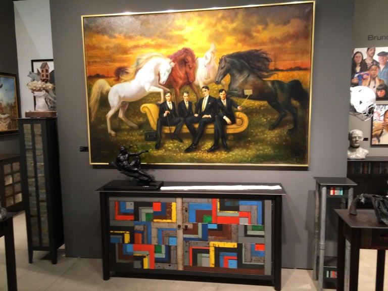 Horsemen of the Metropolis - Original Oil Painting Allegory of the Four Horsemen - Black Figurative Painting by Rose Freymuth-Frazier