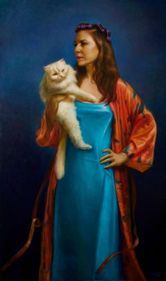 Midlife Madonna, Female in Teal and Red Silk Holding a Persian Cat, Oil Painting
