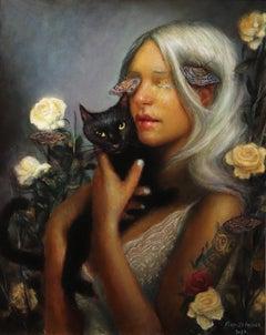 Night Vision - Platinum Blond Woman, Black Cat, Roses, Butterflies, Oil Painting