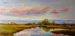 Promise of Spring, Reflective Sky in Pink, Blue, and Gold Tones, Original Oil
