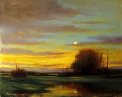 Quiet Evening - Setting Sun and Rising Moon, Reflective and Romantic Colors