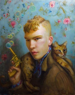 Small Game Hunter - Original Oil Painting with Young Man and Cat