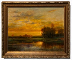 Tangerine Sky  - Original Oil Painting Soft Light Reflecting Romantic Colors