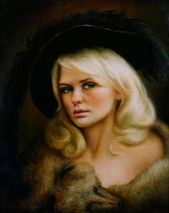 Trapper - Original Oil Painting of Woman in Feather Adorned Hat and Fox Wrap