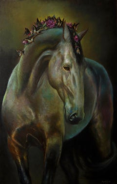 Unbroken, Grey Mare with Flower and Butterfly Mane, Framed Oil Painting
