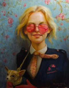 Willful Oblivion- Oil Painting, Woman Wearing Rose Sunglasses with Chihuahua Dog