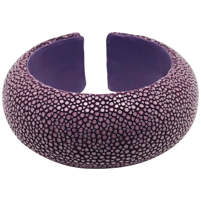 Rose Galuchat Cuff Bracelet For Sale