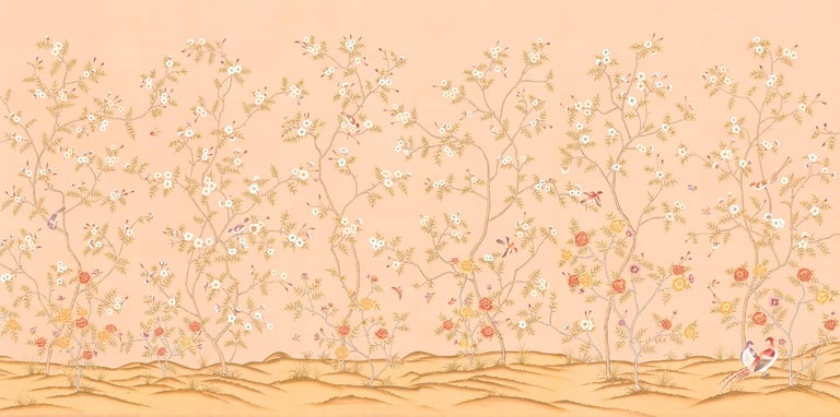 Rose Garden is an elegant mural that celebrates the beauty of a variety of roses with song birds. The mural is hand painted in the ancient chinoiserie art style. The full mural is made up of a series of individual panels, each 3 feet wide. The tops