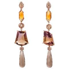Rose Gold 0.70 Karats Diamonds Ametrine & Citrine Dangle One-of-a-kind Earrings