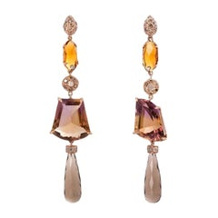 Rose Gold 0.70 Karats Grey and Brown Diamonds Ametrine Citrine Dangle Earrings