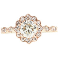 Rose Gold 1.02 Carat Round Brilliant Cut Diamond Engagement Ring
