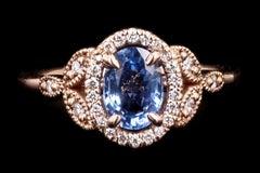 Rose Gold 1.21 Oval Cut Sri Lanka Sapphire & Diamond Ring