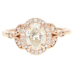 Rose Gold 1.22 Carat Oval Cut Diamond Halo Engagement Ring