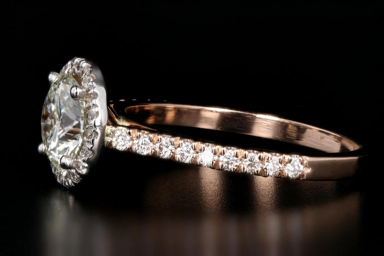 Round Cut Rose Gold 1.23 Carat Round Brilliant Cut Halo Diamond Engagement Ring For Sale