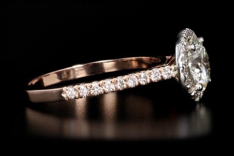 Rose Gold 1.23 Carat Round Brilliant Cut Halo Diamond Engagement Ring In New Condition For Sale In Cape May, NJ