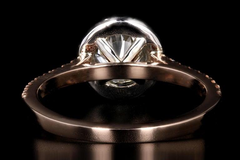 Women's Rose Gold 1.23 Carat Round Brilliant Cut Halo Diamond Engagement Ring For Sale