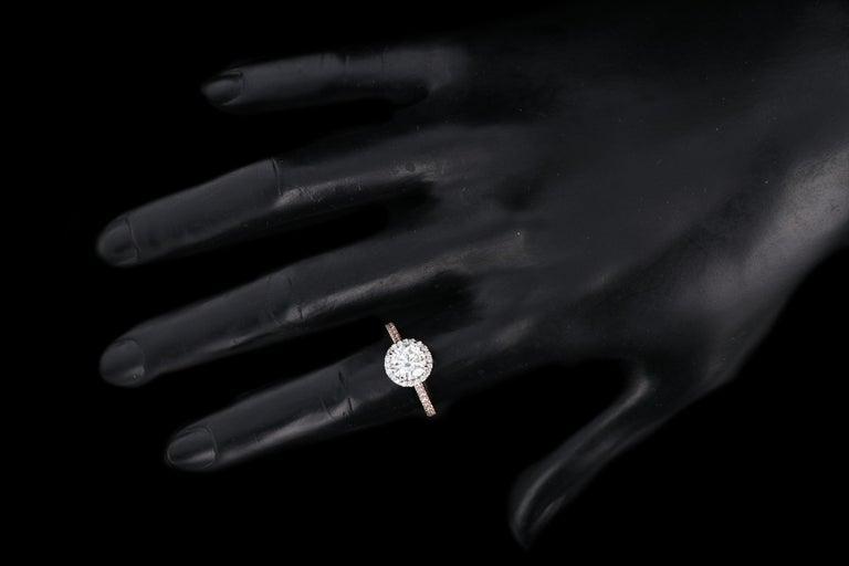 Rose Gold 1.23 Carat Round Brilliant Cut Halo Diamond Engagement Ring For Sale 3