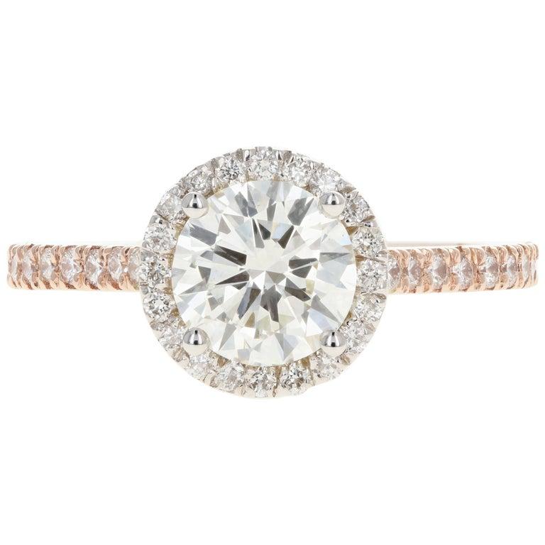 Rose Gold 1.23 Carat Round Brilliant Cut Halo Diamond Engagement Ring For Sale