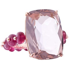 Nina Runsdorf Rose Gold 14.61 Carat Rose Quartz and 9.00 Carat Ruby Bead Ring