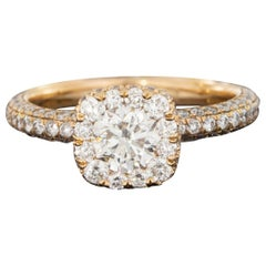 Rose Gold 1.80 Carat Round Diamond Halo Engagement Ring