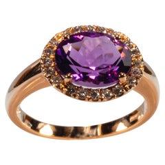 Rose Gold 18k ,2.28 Carat Purple Amethyst and Diamond Ring