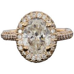 Rose Gold 3.53 Carat Oval Diamond Halo Engagement Ring
