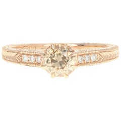 Rose Gold .66 Carat Champagne Diamond Ring