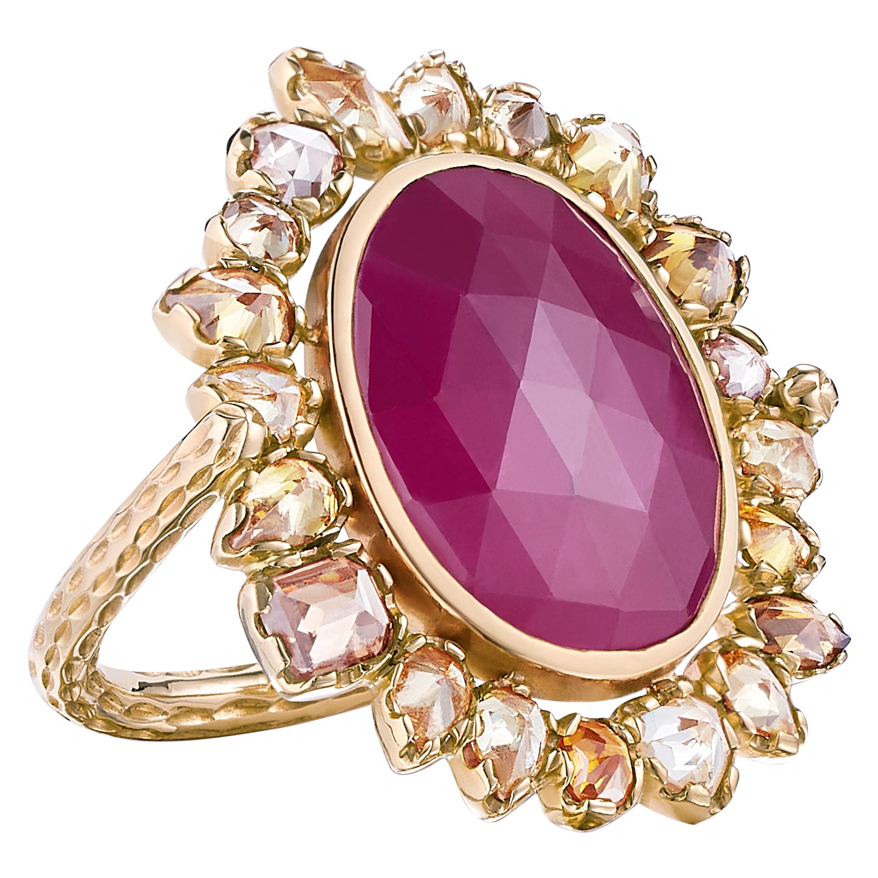 Nina Runsdorf Rose Gold 7.47 Carat Ruby and 2.60 Carat Yellow Diamond Ring