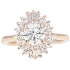 Rose Gold .88 Carat Round Cut Diamond Engagement Ring