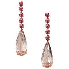 Nina Runsdorf Rose Gold Ruby Bead and 35.12 Carat Morganite Drop Earrings