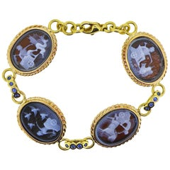 Rose Gold Agate Carved Bracelet with Blue Sapphire Links 18 Karat Gold Clasp