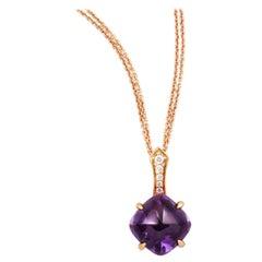 Rose Gold Amethyst and Diamond Pendant