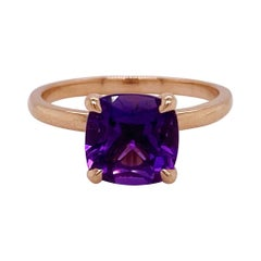 Rose Gold Amethyst Ring, 2.20 Ct Gemstone Solitaire, Engagement, Purple Color