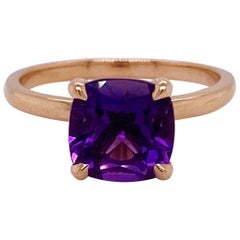 Rose Gold Amethyst Ring, Gemstone Solitaire, Engagement, Purple Pink Combo