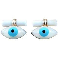 Rose Gold Amulet Evil Eye Mother of Pearl Turquoise Onyx Cufflinks