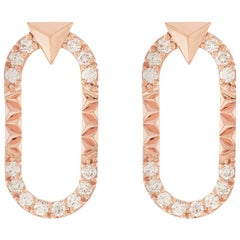 Rose Gold and 0.10 Carat White Diamond Energy Earrings by Alessa Jewelry
